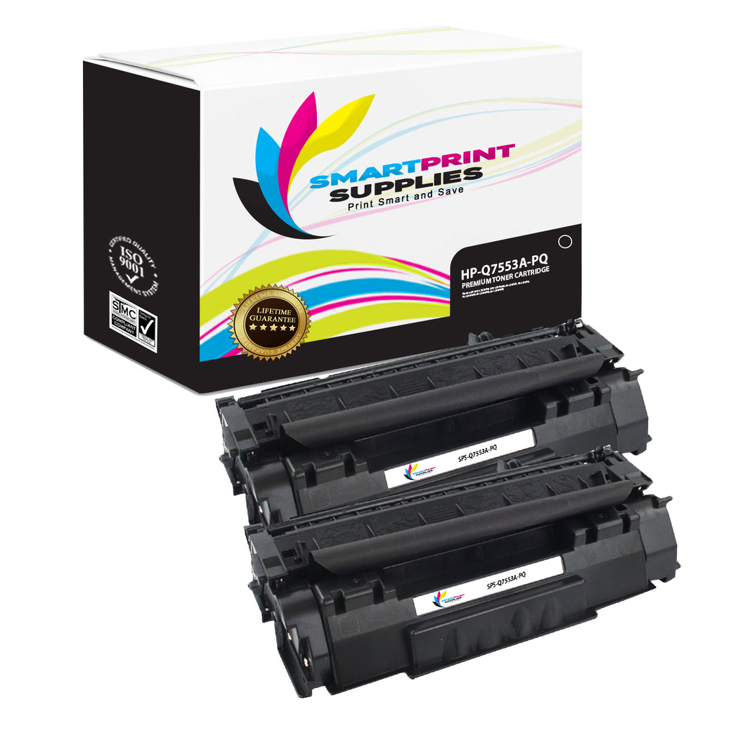 2 Pack HP 53A Q7553A Premium Replacement Black Toner Cartridge by Smart Print Supplies