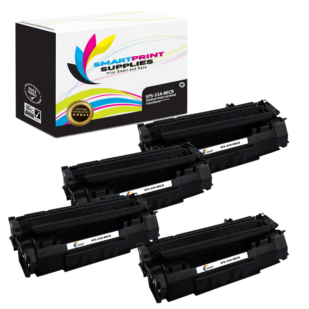4 Pack HP 53A Q7553A Replacement Black MICR Toner Cartridge by Smart Print Supplies