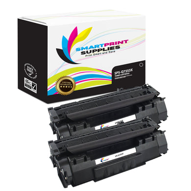 2 Pack HP 53X Q7553X Replacement Black Toner Cartridge by Smart Print Supplies