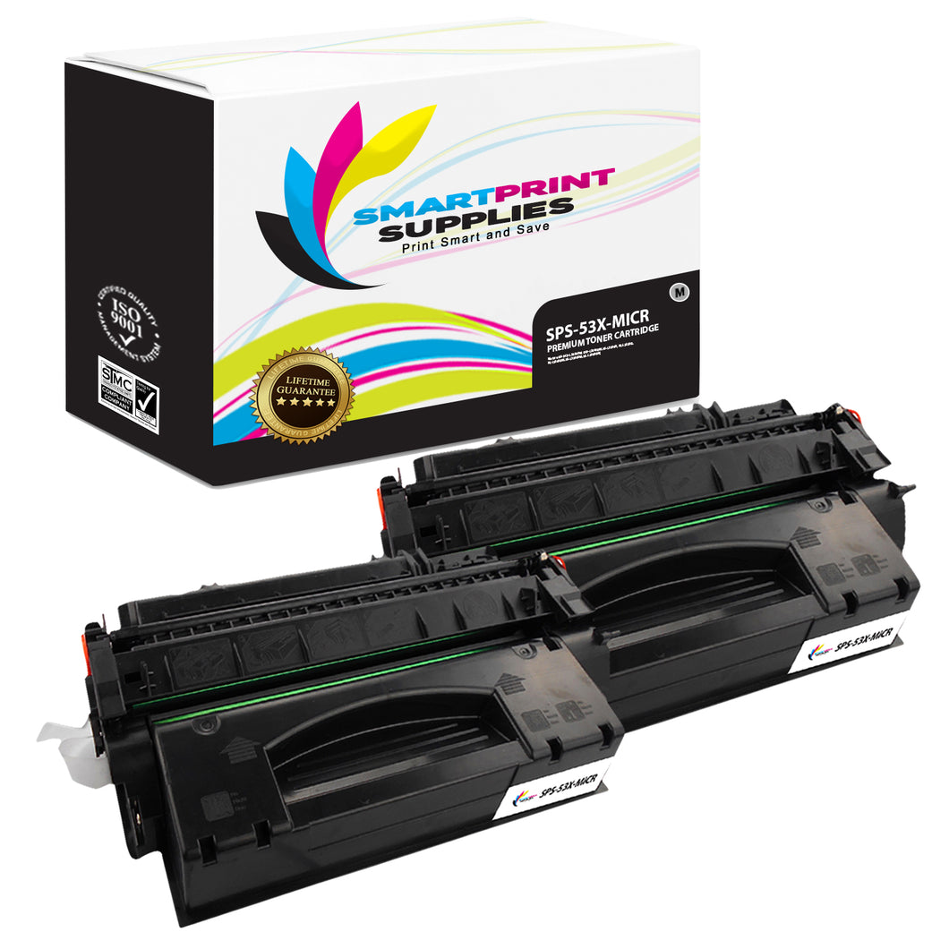 2 Pack HP 53X Q7553X Replacement Black High Yield MICR Toner Cartridge by Smart Print Supplies
