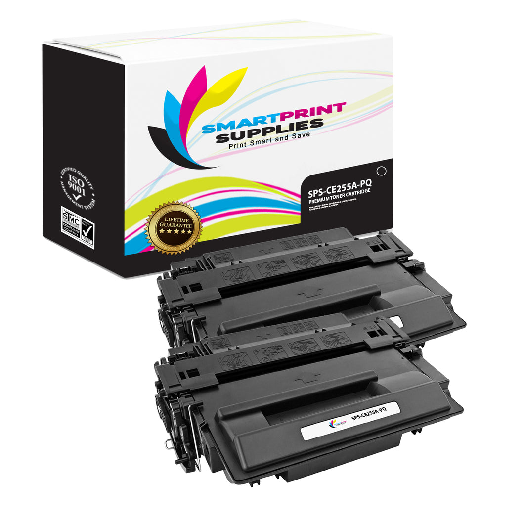 2 Pack HP 55A CE255A Premium Replacement Black Toner Cartridge by Smart Print Supplies