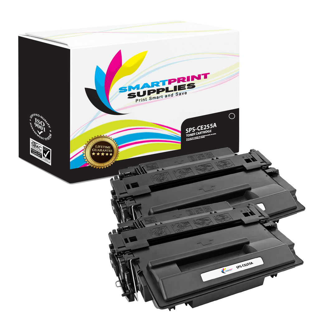2 Pack HP 55A CE255A Replacement Black Toner Cartridge by Smart Print Supplies
