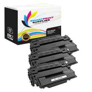 3 Pack HP 55A CE255A Replacement Black Toner Cartridge by Smart Print Supplies
