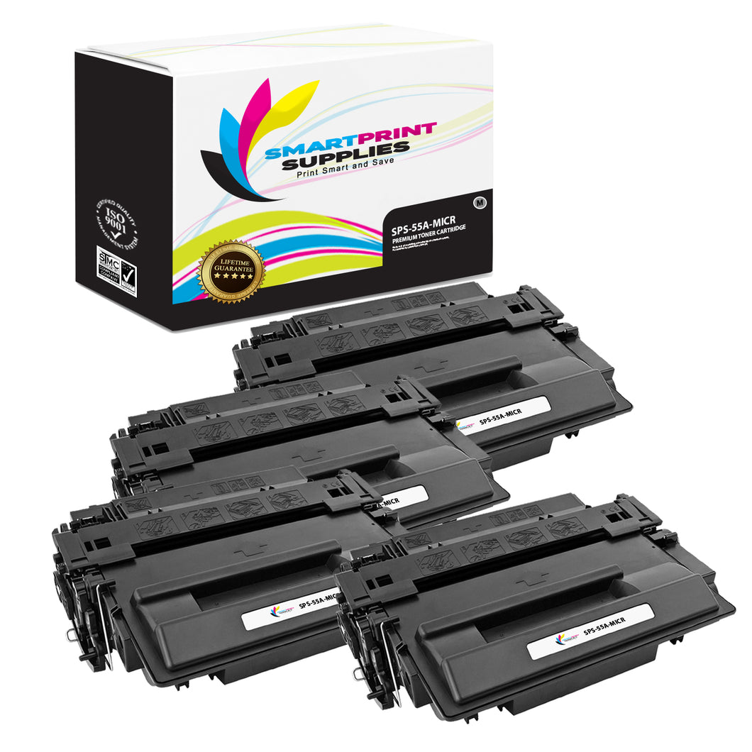4 Pack HP 55A CE255A Replacement Black MICR Toner Cartridge by Smart Print Supplies