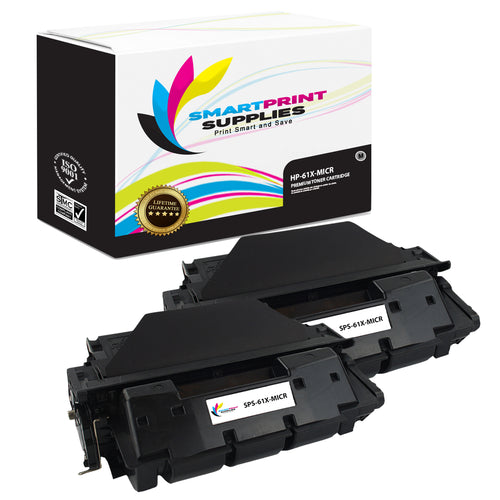 2 Pack HP 61X C8061X Replacement Black High Yield MICR Toner Cartridge by Smart Print Supplies
