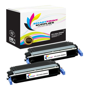 2 Pack HP 642A Black Toner Cartridge Replacement By Smart Print Supplies