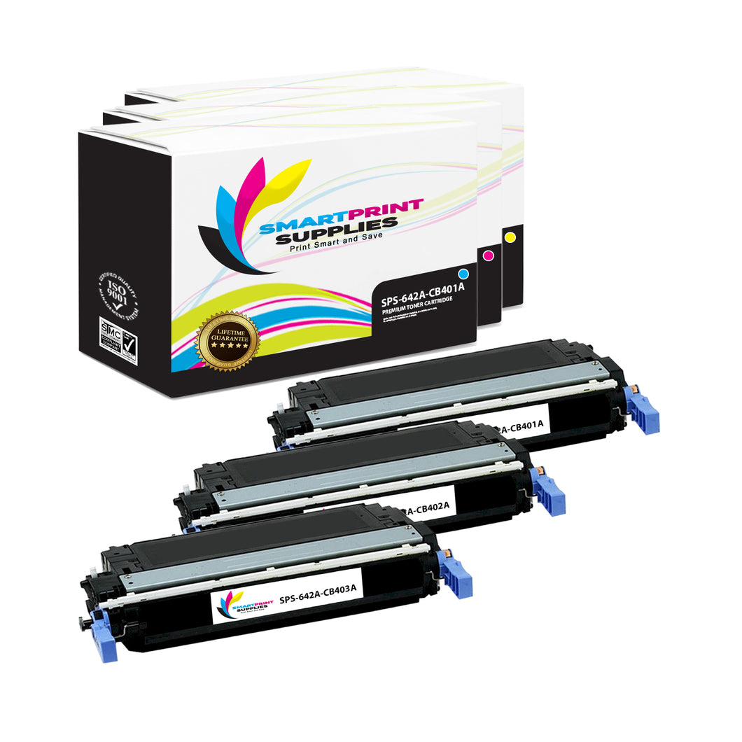 3 Pack HP 642A 3 Colors Toner Cartridge Replacement By Smart Print Supplies