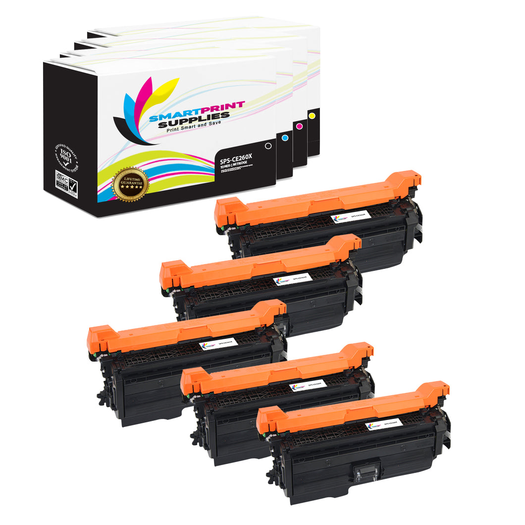 5 Pack HP 649X Replacement (CMYK) Toner Cartridge by Smart Print Supplies