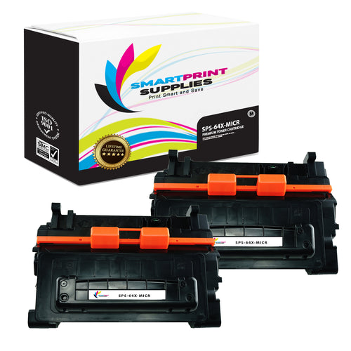 2 Pack HP 64X CC364X Replacement Black High Yield MICR Toner Cartridge by Smart Print Supplies