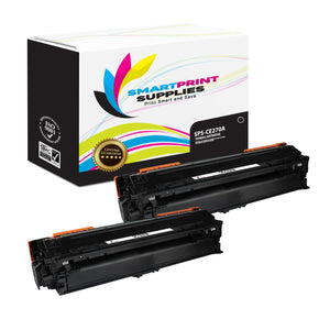 2 Pack HP 650A CE270A Replacement Black Toner Cartridge by Smart Print Supplies