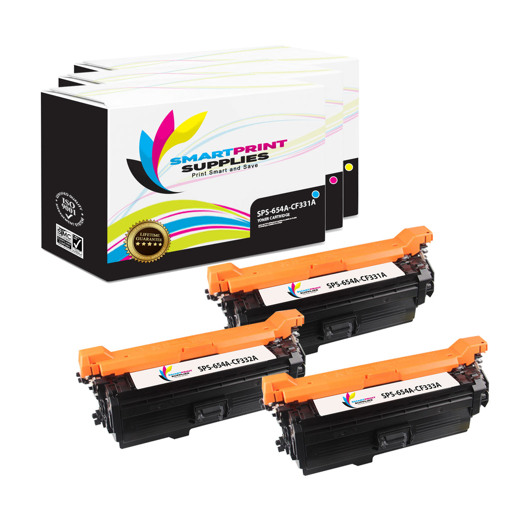 3 Pack HP 654A/654X 3 Colors Toner Cartridge Replacement By Smart Print Supplies
