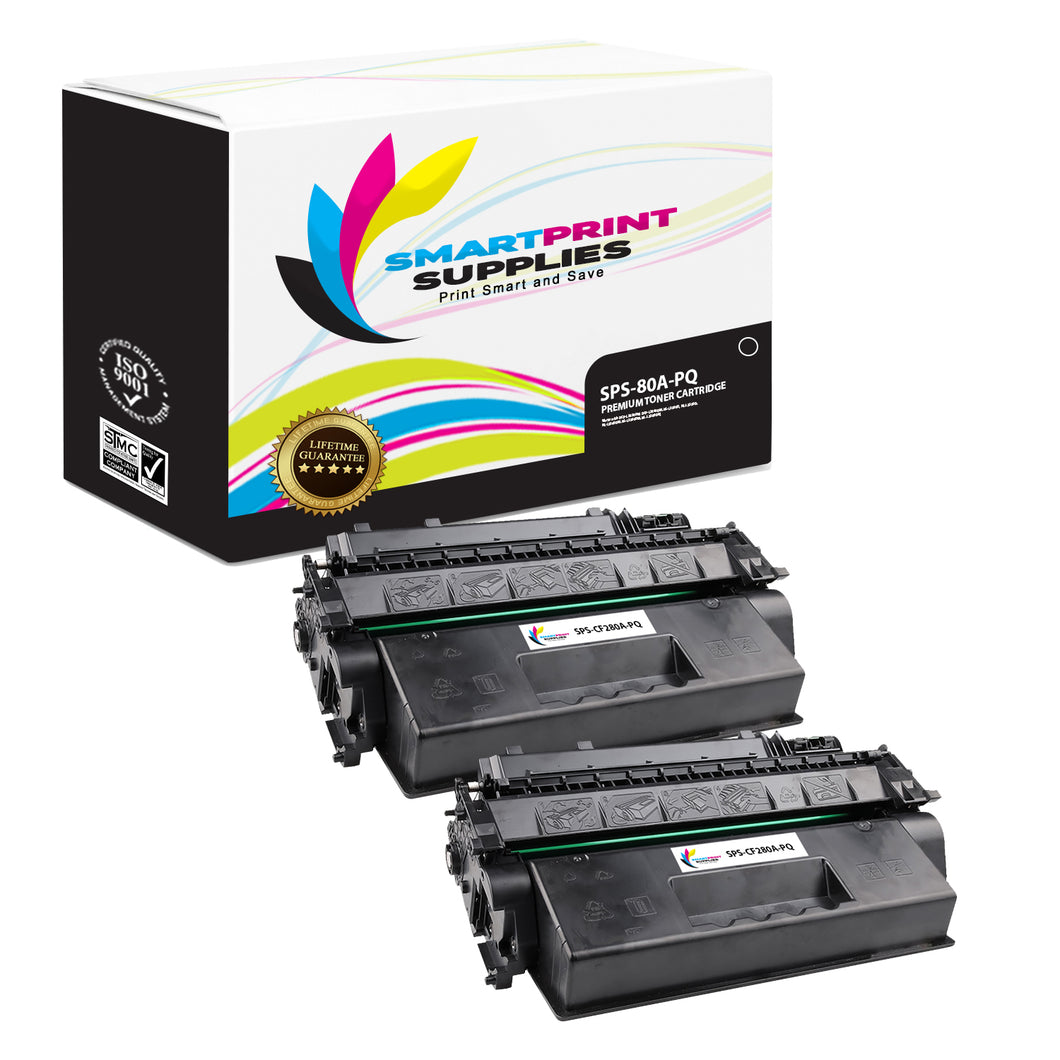 2 Pack HP 80A CF280A Premium Replacement Black Toner Cartridge by Smart Print Supplies