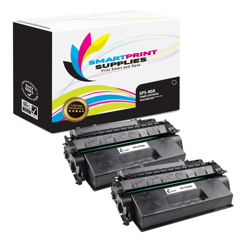 2 Pack HP 80A CF280A Replacement Black Toner Cartridge by Smart Print Supplies