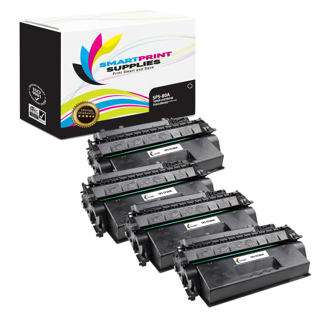 4 Pack HP 80A CF280A Replacement Black Toner Cartridge by Smart Print Supplies