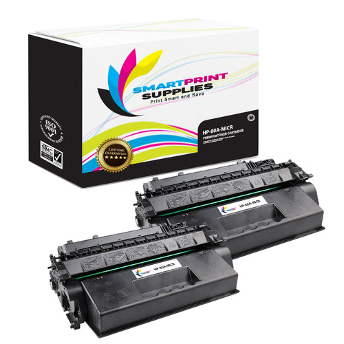 2 Pack HP 80A CF280A Replacement Black MICR Toner Cartridge by Smart Print Supplies