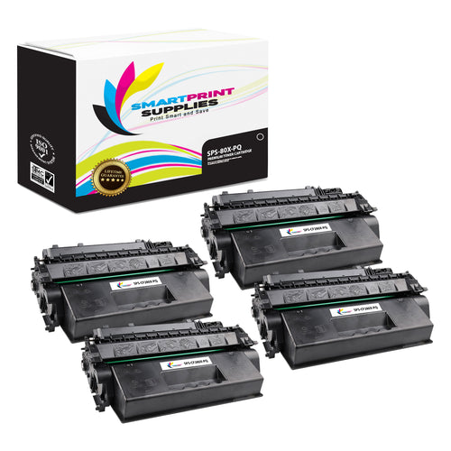 4 Pack HP 80X CF280X Premium Replacement Black High Yield Toner Cartridge by Smart Print Supplies