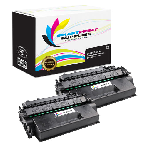 2 Pack HP 80X CF280X Replacement Black High Yield MICR Toner Cartridge by Smart Print Supplies