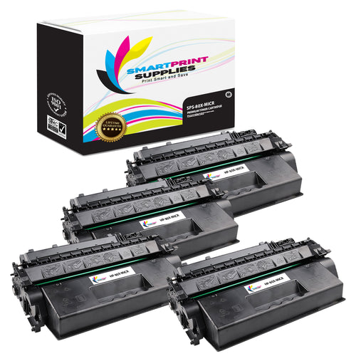 4 Pack HP 80X CF280X Replacement Black High Yield MICR Toner Cartridge by Smart Print Supplies