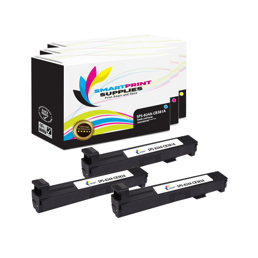 3 Pack HP 823A/824A 3 Colors Toner Cartridge Replacement By Smart Print Supplies