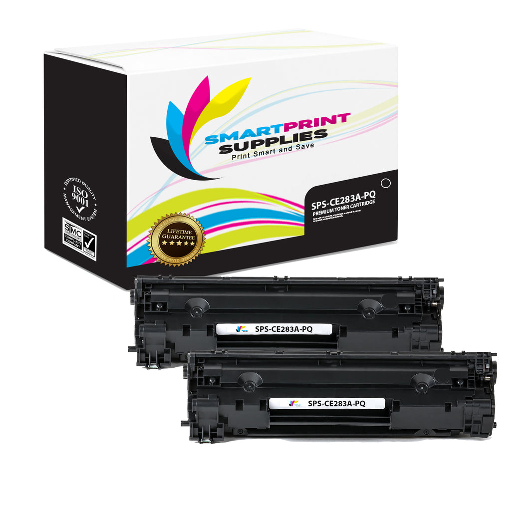 2 Pack HP 83A CF283A Premium Replacement Black Toner Cartridge by Smart Print Supplies