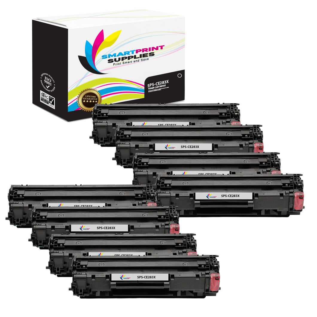 8 Pack HP 83X CF283X Replacement Black High Yield Toner Cartridge by Smart Print Supplies