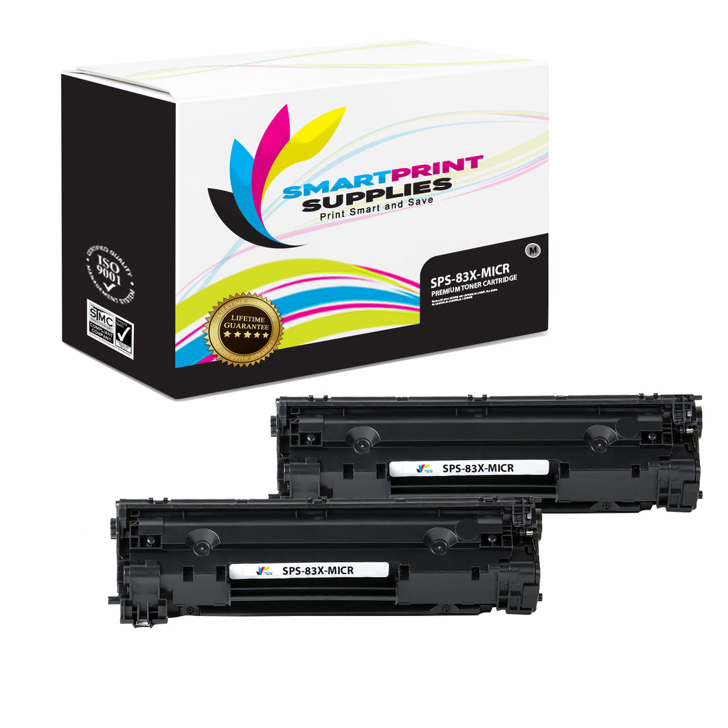 2 Pack HP 83X CF283X Replacement Black High Yield MICR Toner Cartridge by Smart Print Supplies