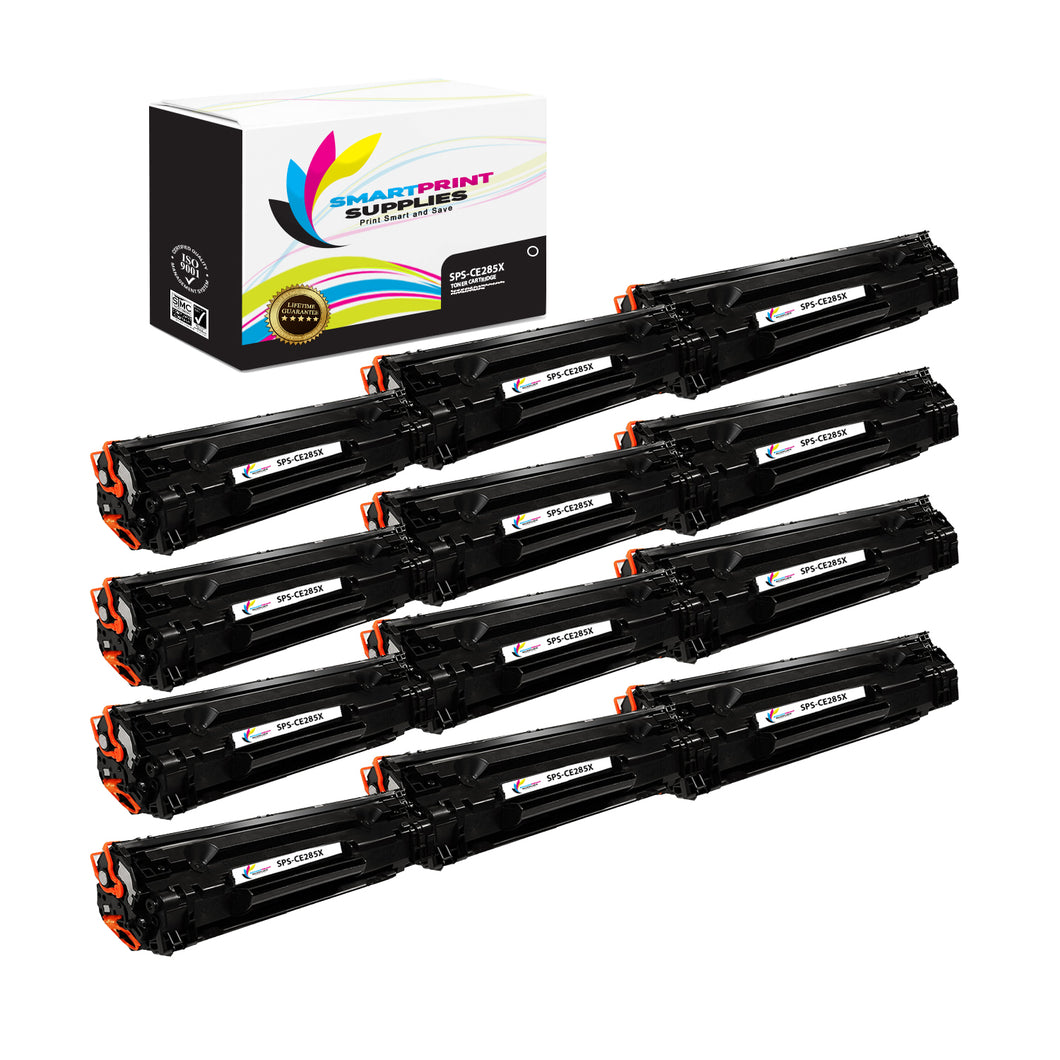 12 Pack HP 85X CE285A Replacement Black High Yield Toner Cartridge by Smart Print Supplies