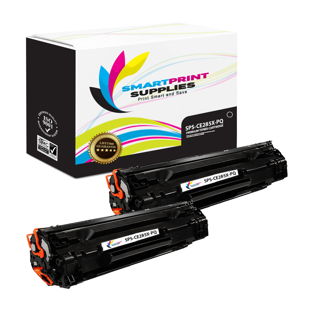 2 Pack HP 85X CE285A Premium Replacement Black High Yield Toner Cartridge by Smart Print Supplies