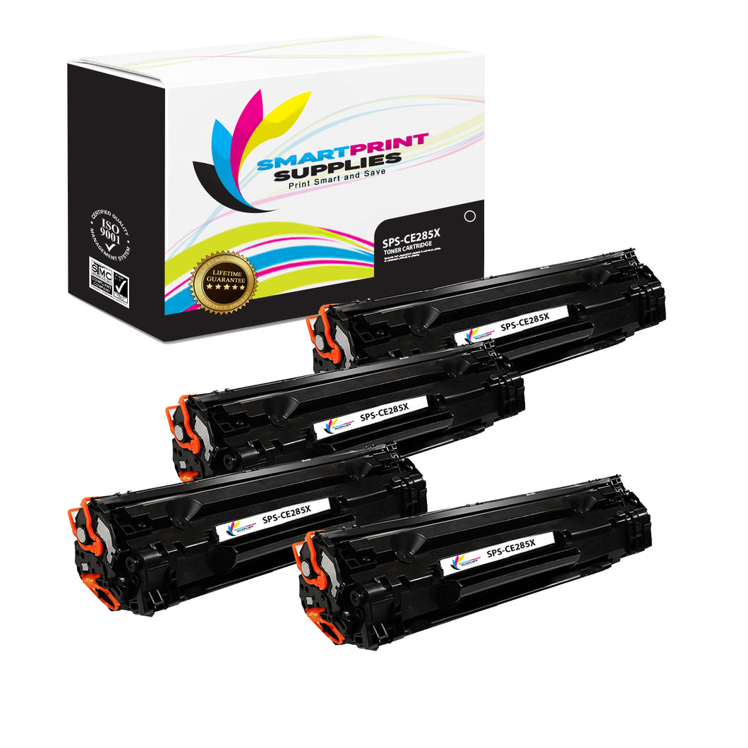 4 Pack HP 85X CE285A Replacement Black High Yield Toner Cartridge by Smart Print Supplies