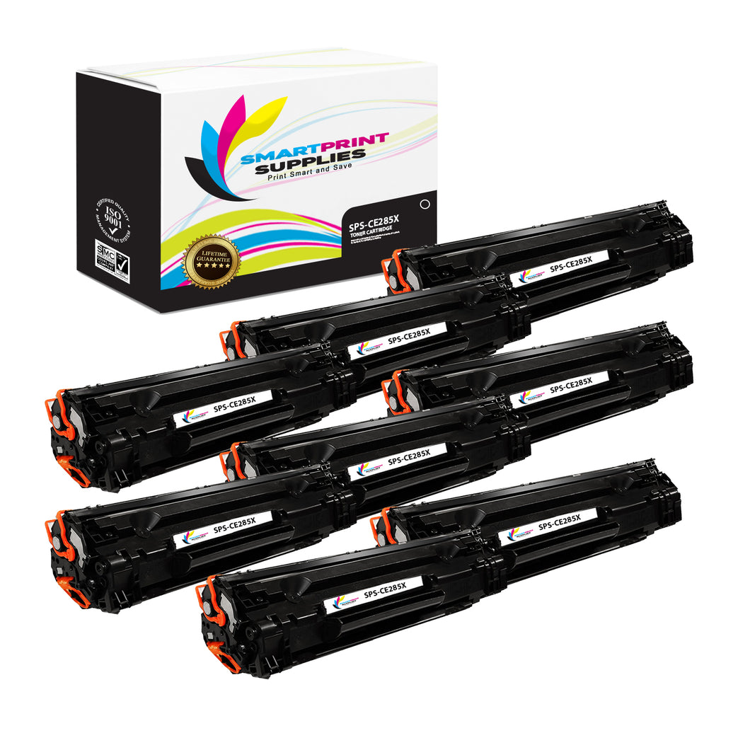 8 Pack HP 85X CE285A Replacement Black High Yield Toner Cartridge by Smart Print Supplies