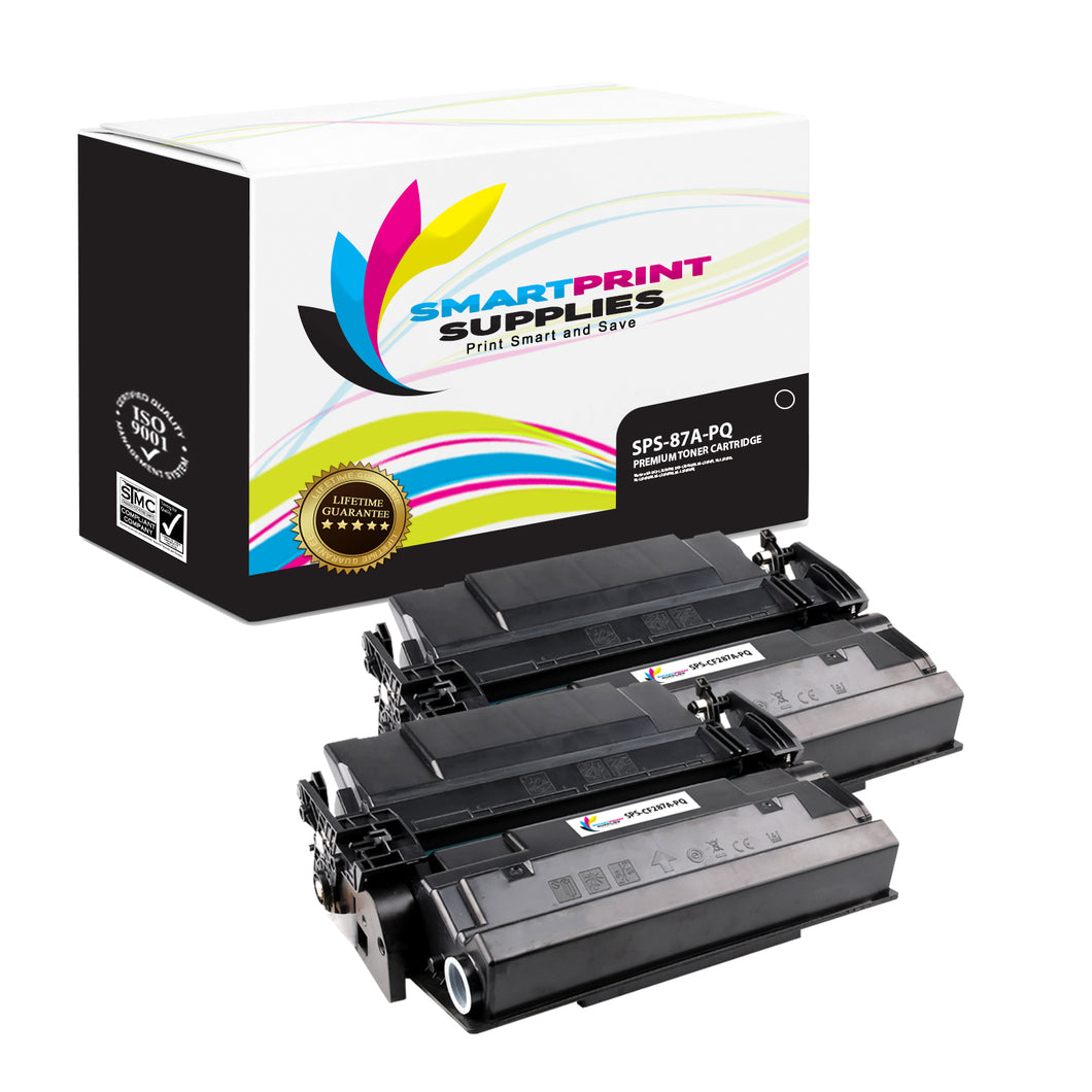 2 Pack HP 87A CF287A Premium Replacement Black Toner Cartridge by Smart Print Supplies