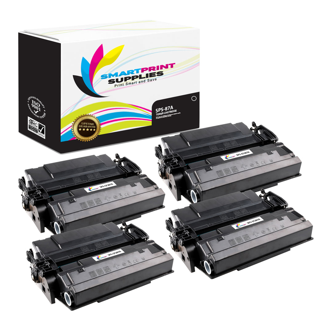 4 Pack HP 87A CF287A Replacement Black Toner Cartridge by Smart Print Supplies