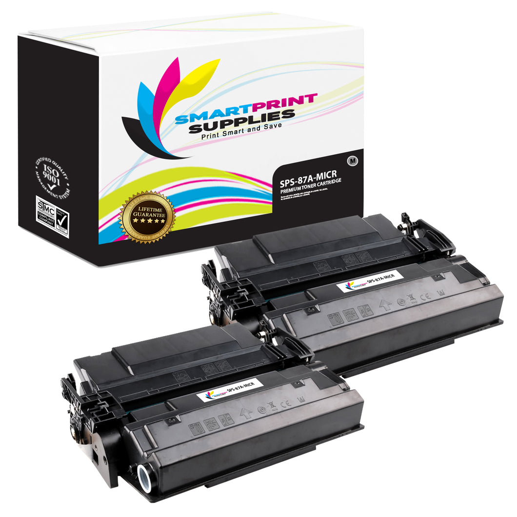 2 Pack HP 87A CF287A Replacement Black MICR Toner Cartridge by Smart Print Supplies