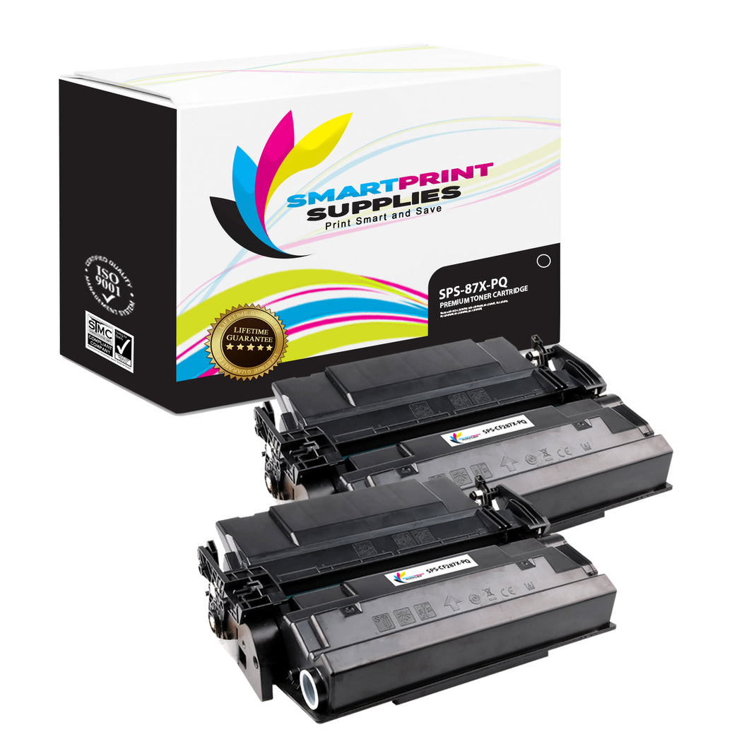 2 Pack HP 87X CF287X Premium Replacement Black Toner Cartridge by Smart Print Supplies