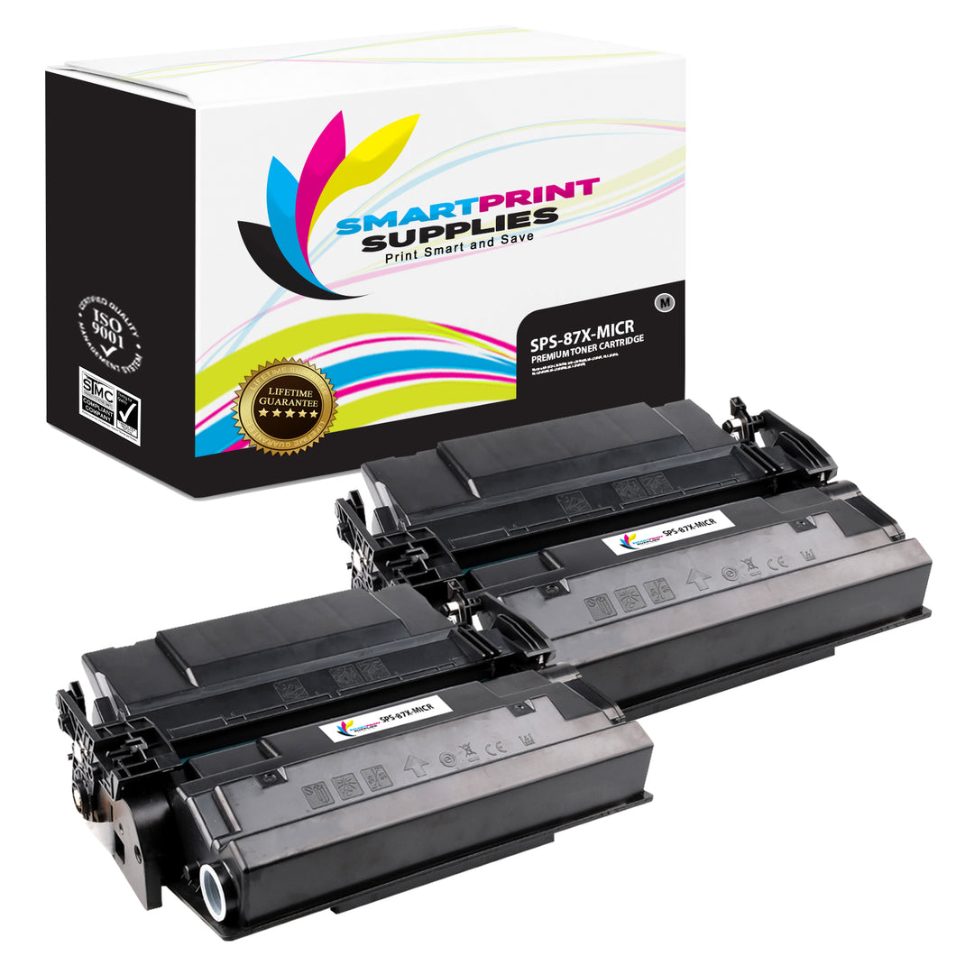 2 Pack HP 87X CF287X Replacement Black High Yield MICR Toner Cartridge by Smart Print Supplies