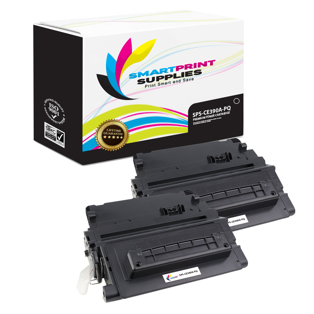 2 Pack HP 90A CE390A Premium Replacement Black Toner Cartridge by Smart Print Supplies
