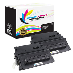 2 Pack HP 90A CE390A Replacement Black Toner Cartridge by Smart Print Supplies