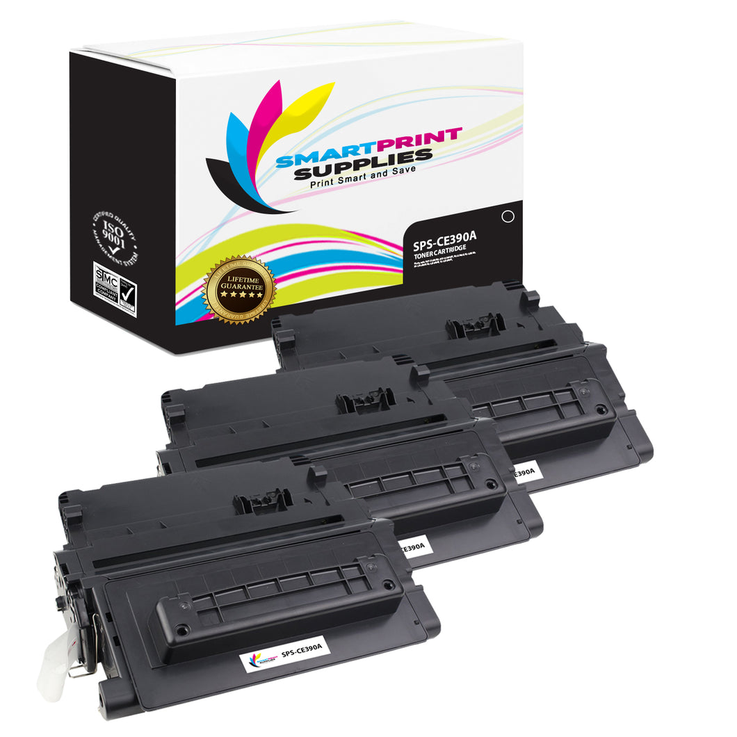 3 Pack HP 90A CE390A Replacement Black Toner Cartridge by Smart Print Supplies