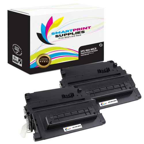 2 Pack HP 90A CE390A Replacement Black MICR Toner Cartridge by Smart Print Supplies