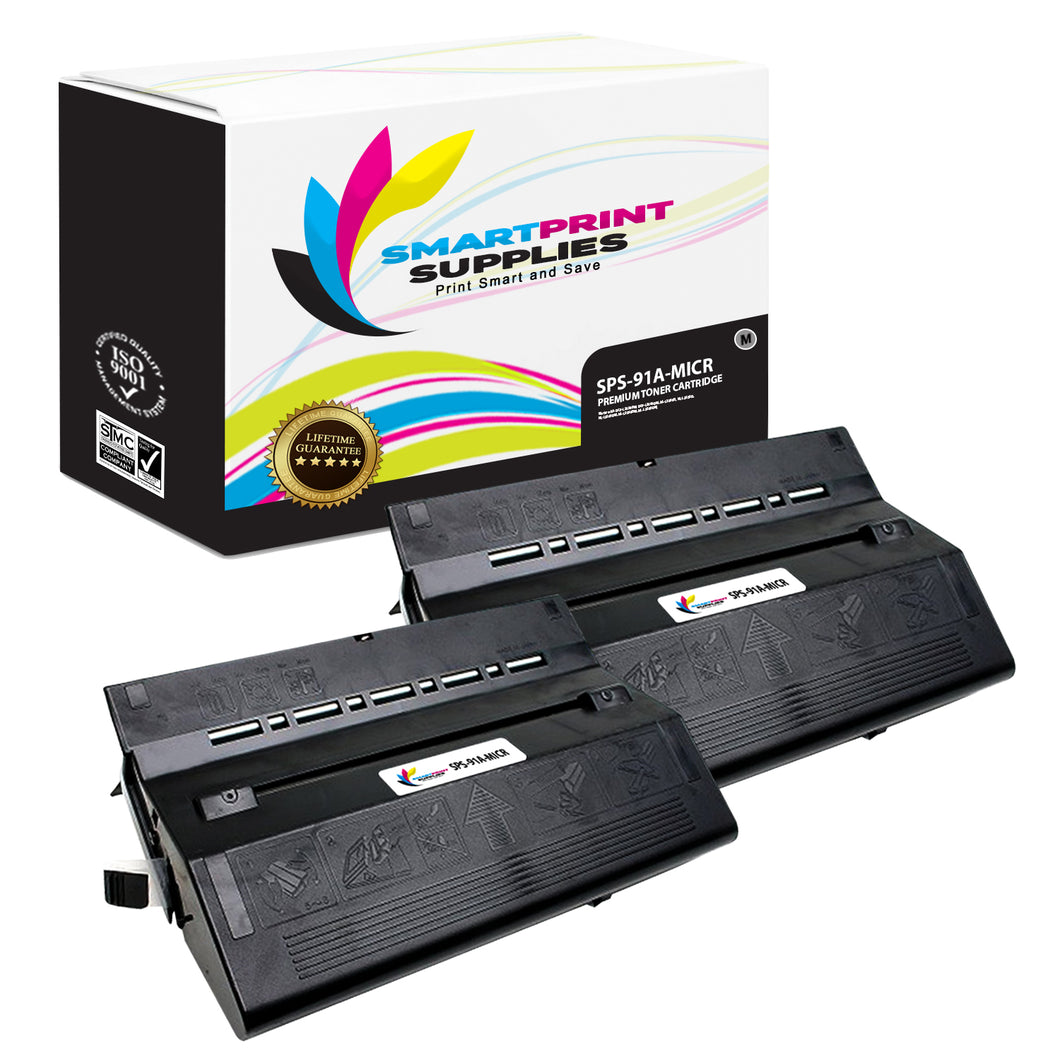 2 Pack HP 91A 92291A Replacement Black MICR Toner Cartridge by Smart Print Supplies