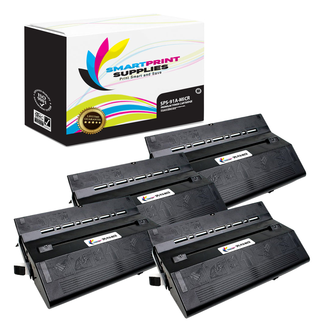 4 Pack HP 91A 92291A Replacement Black MICR Toner Cartridge by Smart Print Supplies