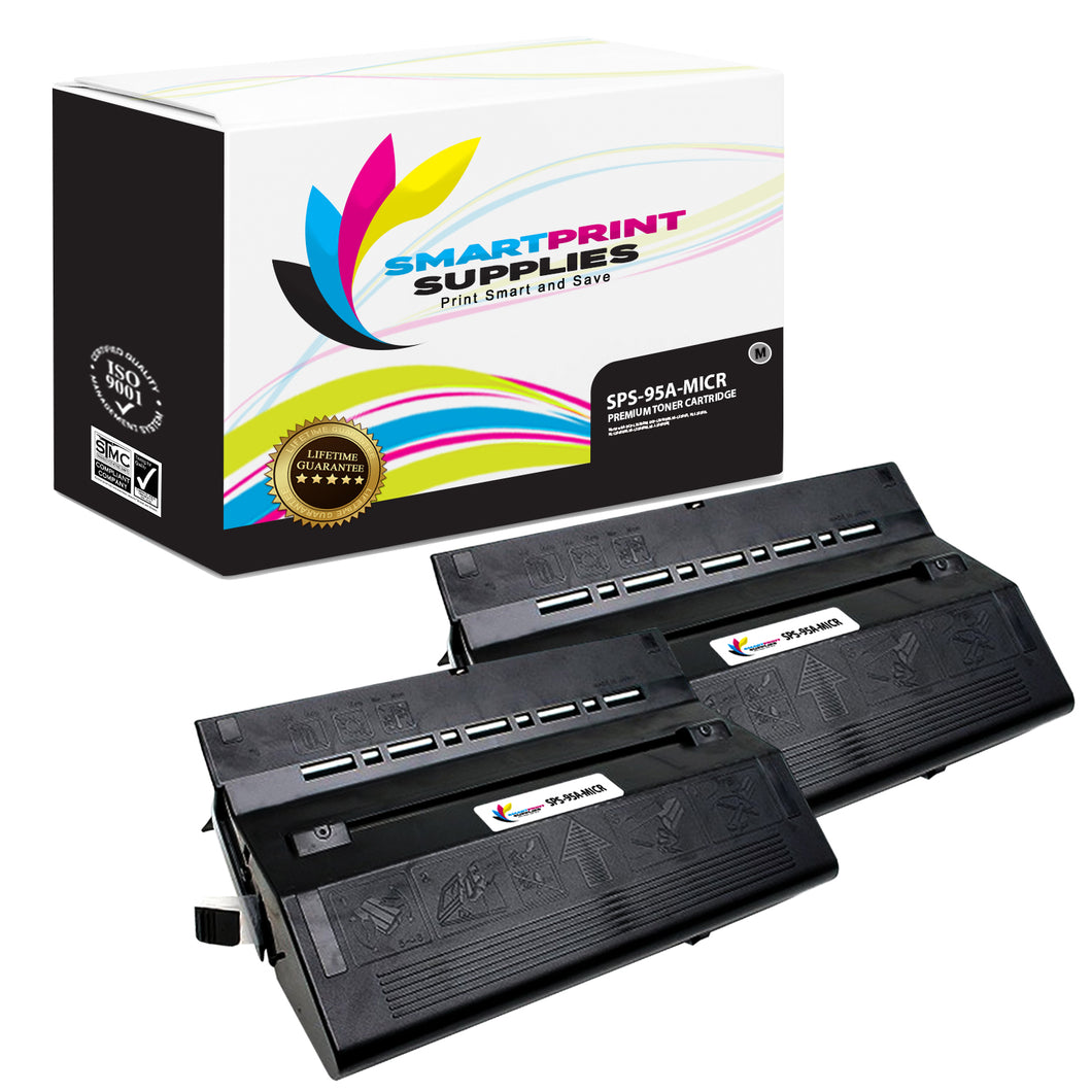 2 Pack HP 95A 92295A Replacement Black MICR Toner Cartridge by Smart Print Supplies