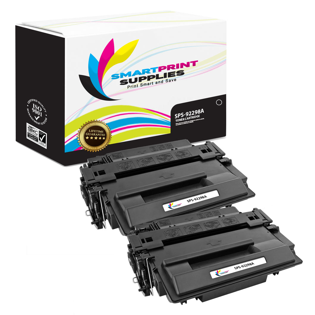 2 Pack HP 98A 92298A Replacement Black Toner Cartridge by Smart Print Supplies