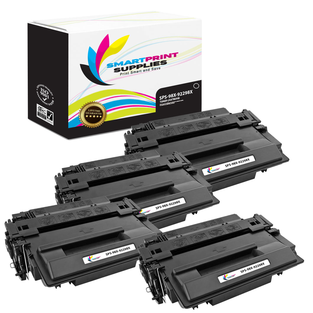 4 Pack HP 98X 92298X Replacement Black High Yield Toner Cartridge by Smart Print Supplies