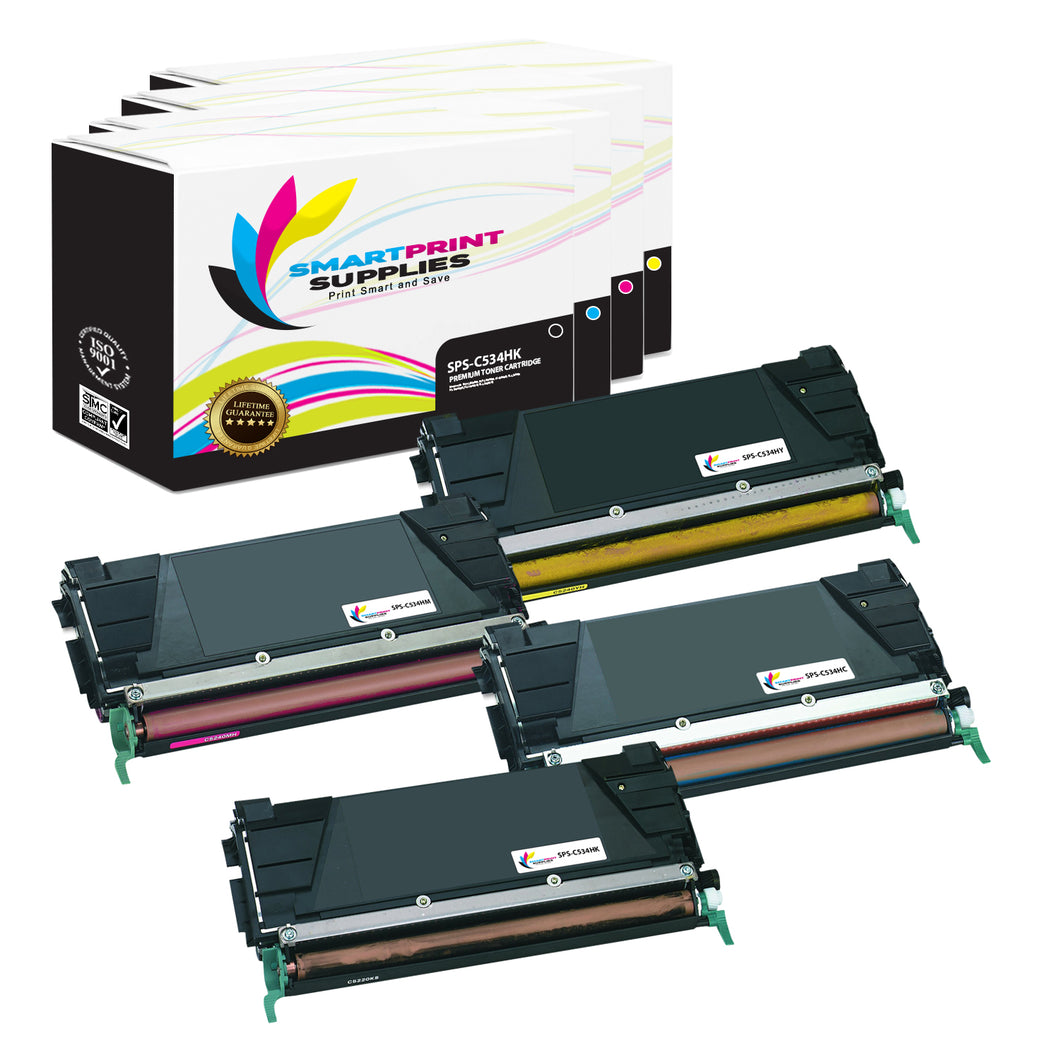 4 Pack Lexmark C534H Replacement (CMYK) Toner Cartridge by Smart Print Supplies