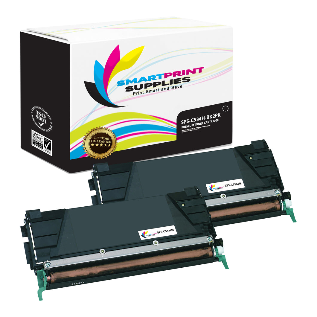 2 Pack Lexmark C534HK Replacement Black Toner Cartridge by Smart Print Supplies