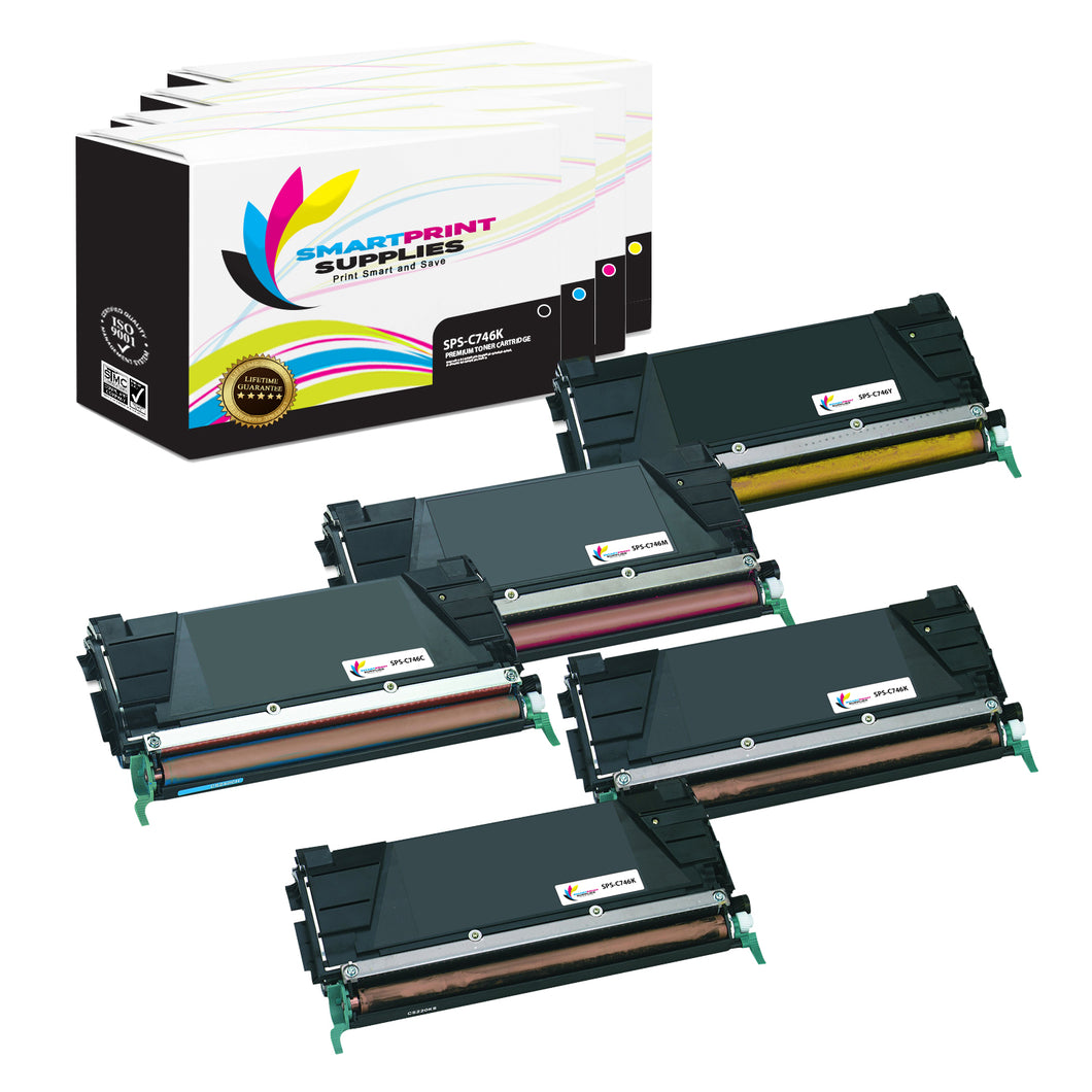 5 Pack Lexmark C746 Replacement (CMYK) Toner Cartridge by Smart Print Supplies