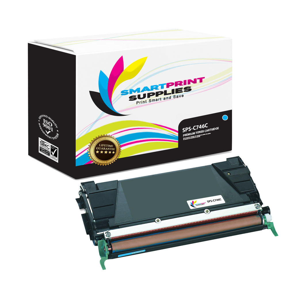 Lexmark C746 Replacement Cyan Toner Cartridge by Smart Print Supplies
