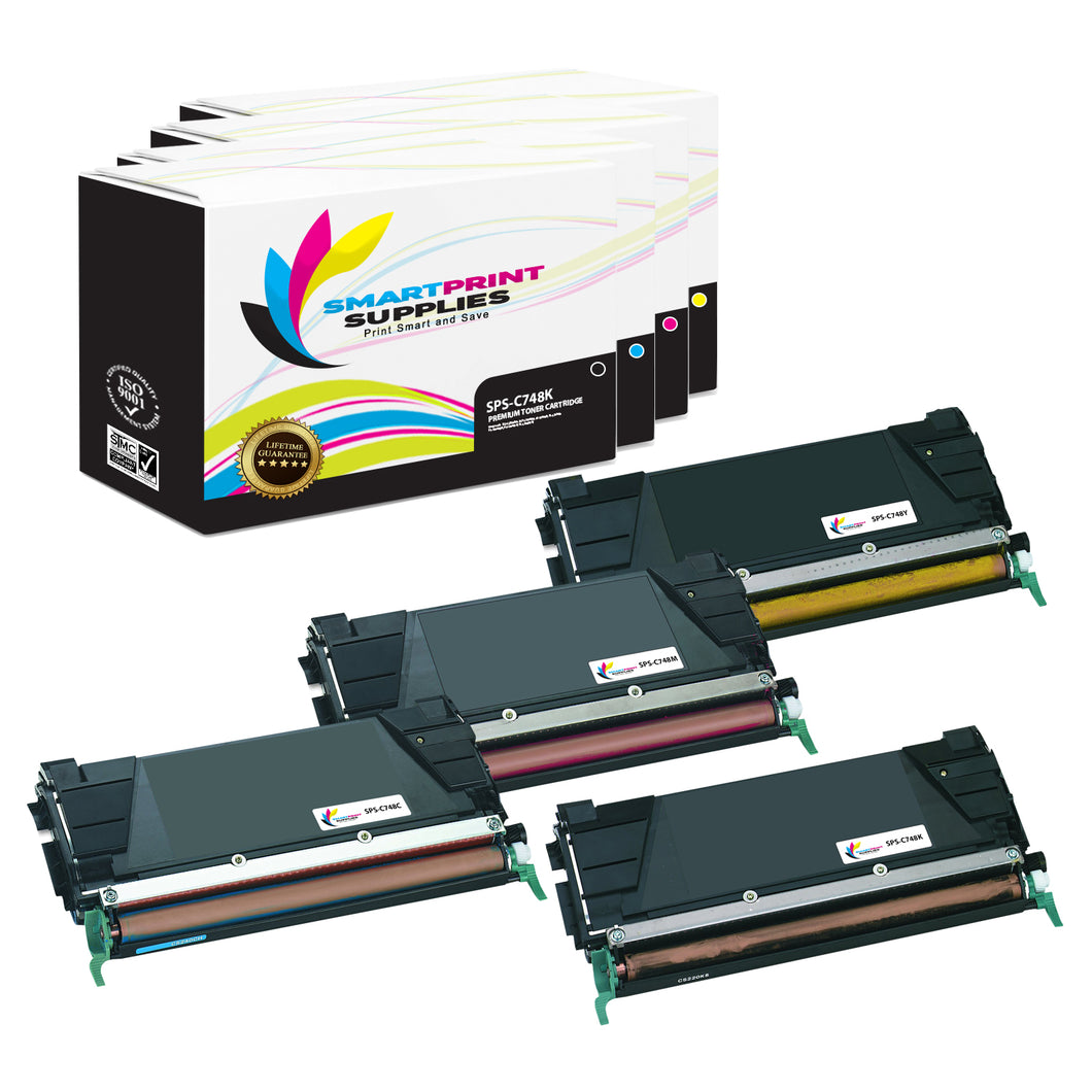 4 Pack Lexmark C748 Replacement (CMYK) Toner Cartridge by Smart Print Supplies