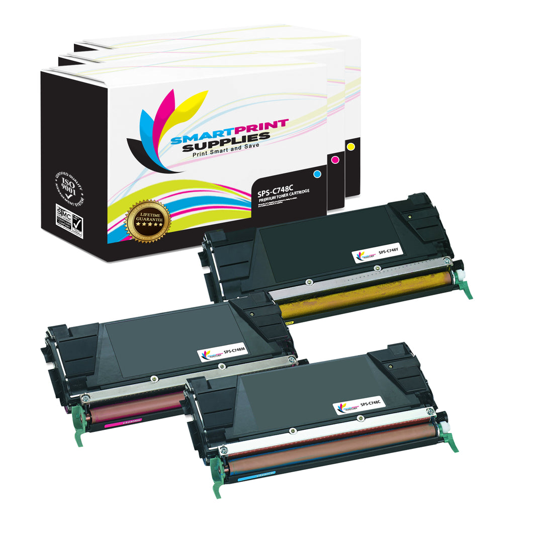 3 Pack Lexmark C748 Replacement (CMY) Toner Cartridge by Smart Print Supplies